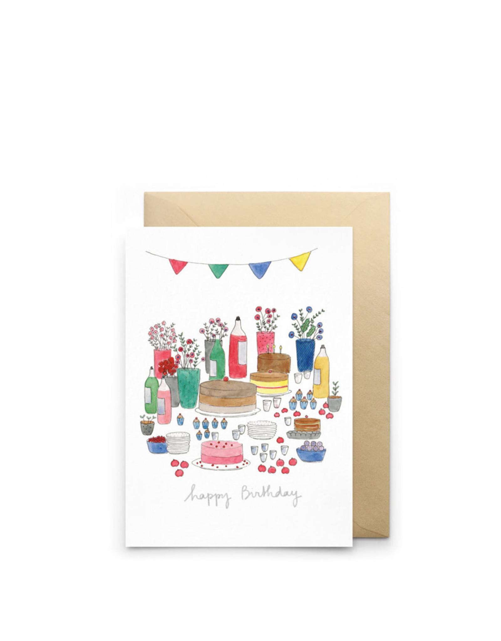 Petit Gramme Wenskaart - Happy Birthday - Dubbele kaart + Envelop - 11,5 x 16,5 - Blanco