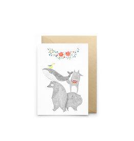 Petit Gramme Wenskaart - Escalade - Dubbele kaart + Envelop - 11,5 x 16,5 - Blanco