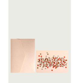 Le Typographe Wenskaart - Happy Birthday Confetti - Dubbele kaart + Envelope - 10 x 15cm