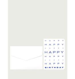 Le Typographe Wenskaart - Happy Happy Birthday - Dubbele kaart + Envelope - 10 x 15cm