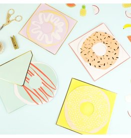 Meri Meri 12 Donuts - 12 notitiekaartjes + enveloppe  in 4 designs