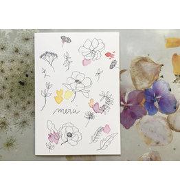 papillonage Wenskaart - Merci - Dubbele kaart met envelop