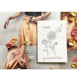 papillonage Wenskaart - Marguerite - Dubbele kaart met envelop