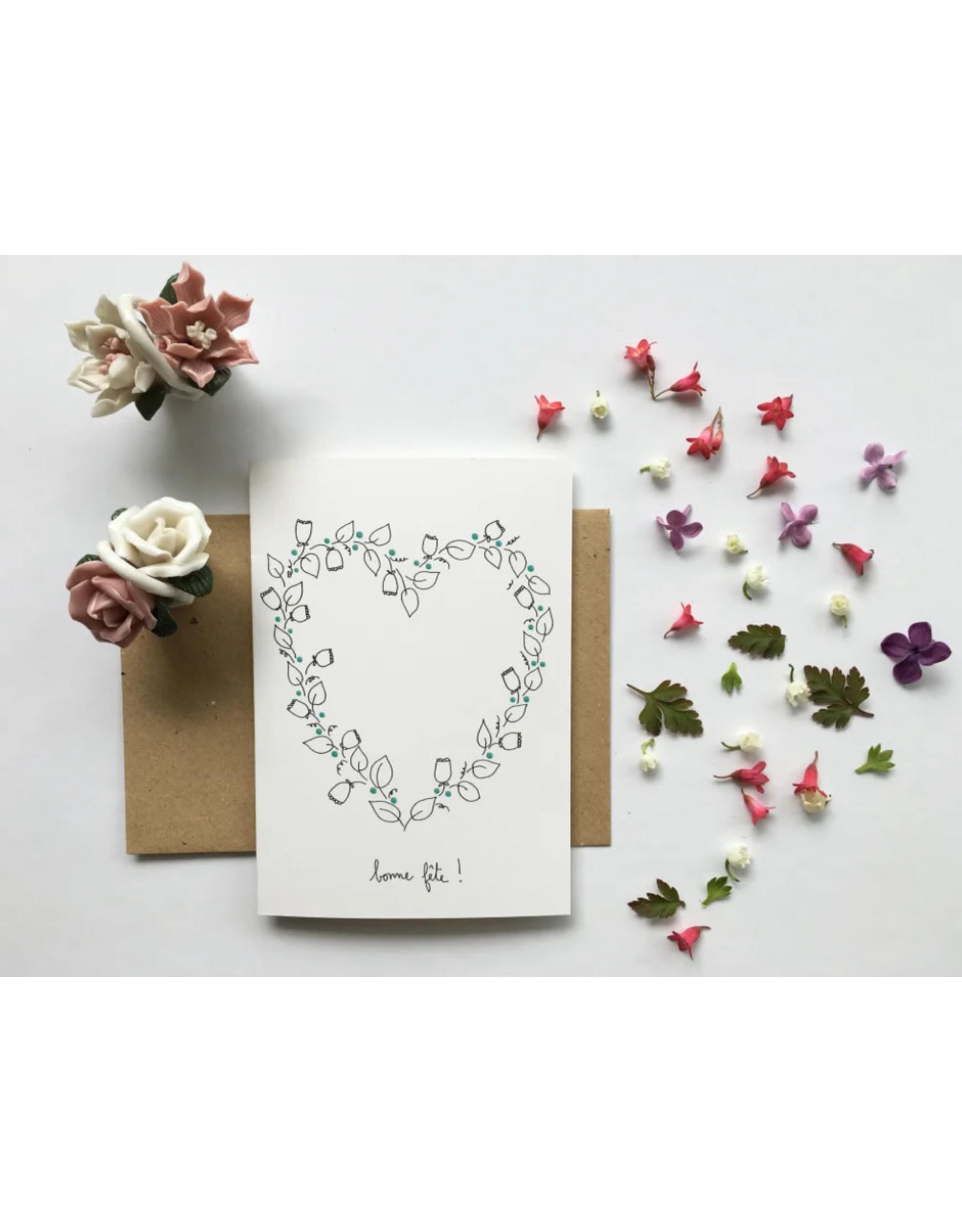 papillonage Wenskaart - Bonne fête - Dubbele kaart met envelop