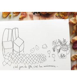 papillonage Wenskaart - Jour de  fête - Dubbele kaart met envelop