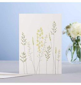 Eloise Hall Wenskaart - Meadow Flowers & Grass  - Dubbele Kaart + Envelop - 11,5 x 16,5 - Blanco
