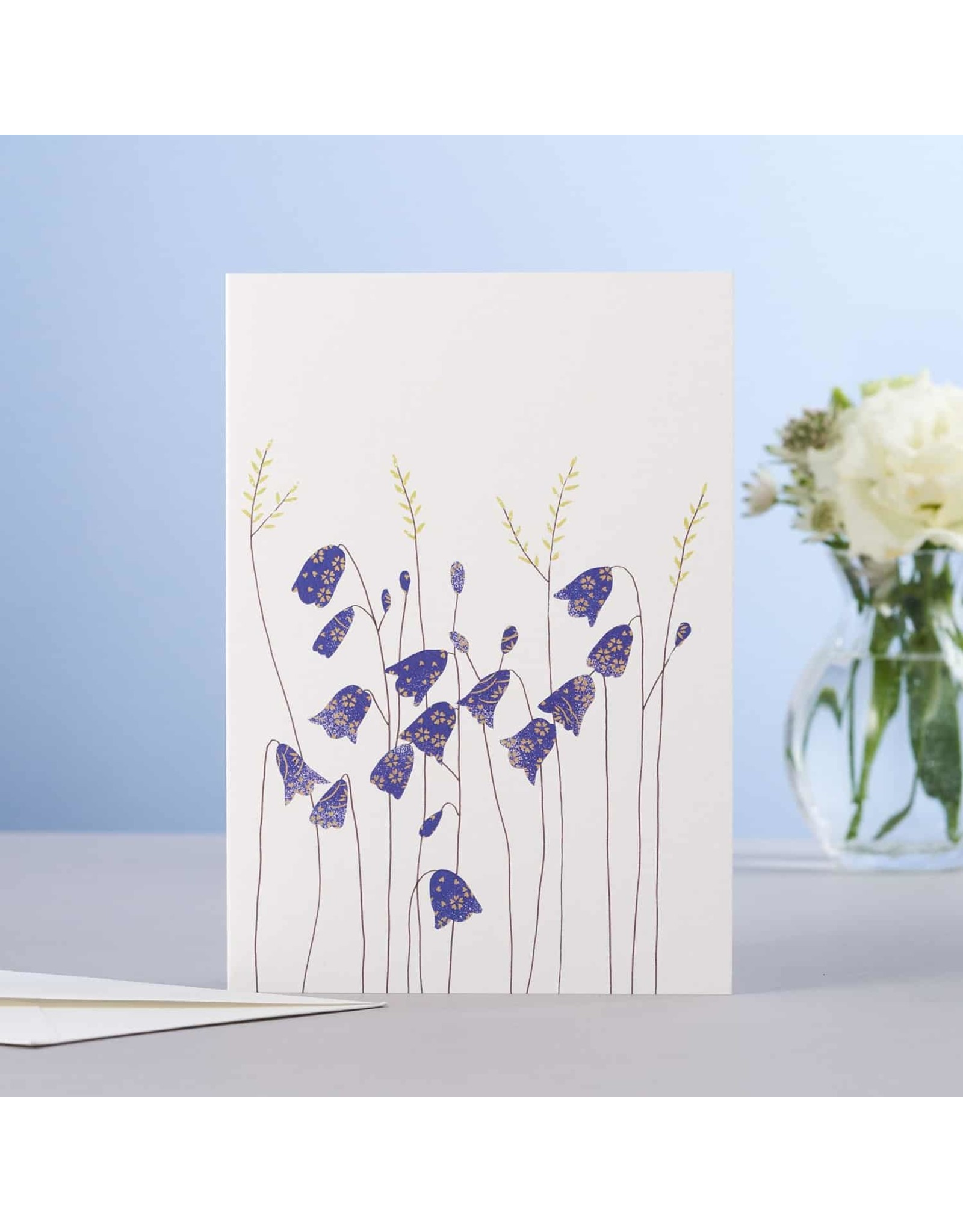 Eloise Halle Wenskaart - Harebells  & grass  - Dubbele Kaart + Envelop - 11,5 x 16,5 - Blanco