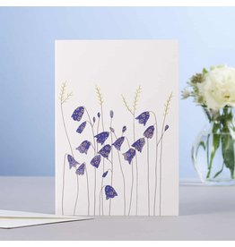 Eloise Hall Wenskaart - Harebells  & grass  - Dubbele Kaart + Envelop - 11,5 x 16,5 - Blanco