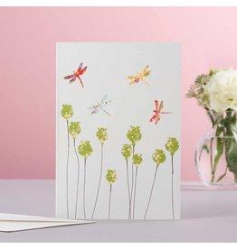 Eloise Halle Wenskaart - Dragonflies & poppy heads  - Dubbele Kaart + Envelop - 11,5 x 16,5 - Blanco