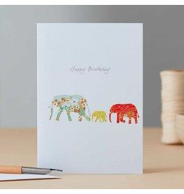 Eloise Halle Wenskaart - Elephant family birthday   - Dubbele Kaart + Envelop - 11,5 x 16,5 - Blanco
