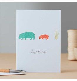 Eloise Halle Wenskaart - Hippopotamus & grass birthday    - Dubbele Kaart + Envelop - 11,5 x 16,5 - Blanco