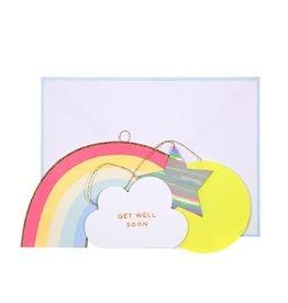 Meri Meri Wenskaart - Get well soon - Rainbow Mobile + envelop - 10,5 x 23,5