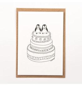 Studio Flash Wenskaart - Pinguïn wedding  - Letterpress Kaart + Envelop - 11,5 x 16,5 - Blanco
