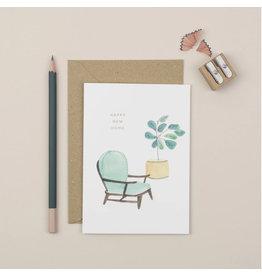 Plewsy Wenskaart - Happy New Home Zetel - Dubbele Kaart met envelop - blanco