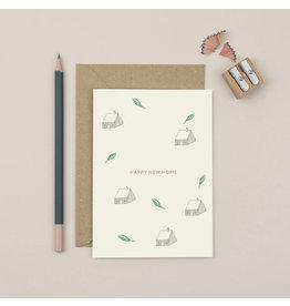Plewsy Wenskaart - Happy New Home - Dubbele Kaart met envelop - blanco