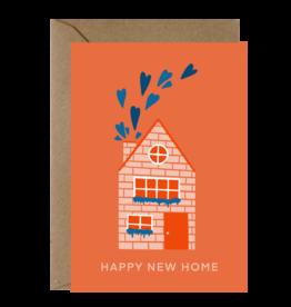 Ema Tudose Wenskaart - Happy New Home hartjes uit schoorsteen - Dubbele Kaart met envelop - blanco