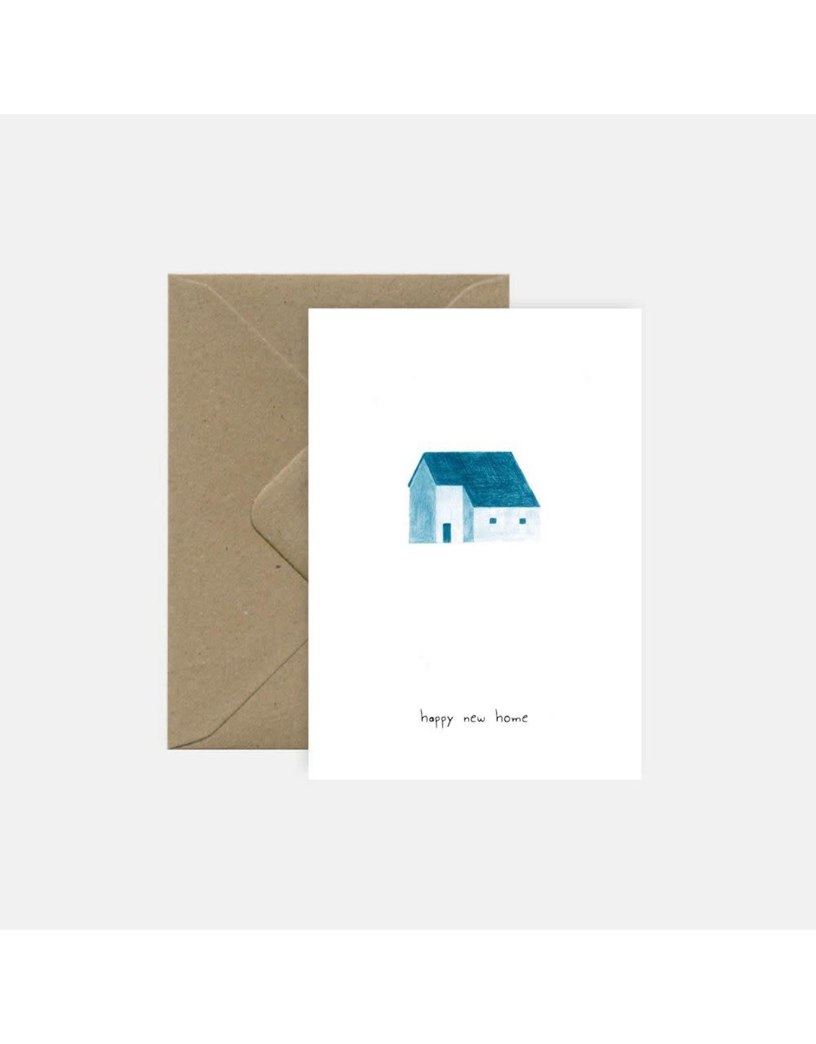 Pink Cloud Studio Wenskaart - Blue House - Dubbele Kaart met envelop - blanco