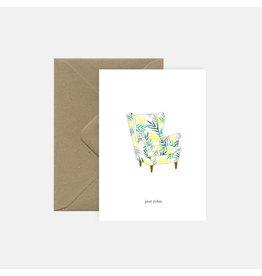 Pink Cloud Studio Wenskaart - Relax sofa - Dubbele Kaart met envelop - blanco