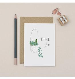 Plewsy Wenskaart - Plant Thank you - Dubbele Kaart met envelop - blanco