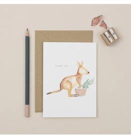 Plewsy Wenskaart - Kangeroe Thank you - Dubbele Kaart met envelop - blanco