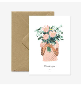 ATWS Wenskaart - Tattoo girl Thank you - Dubbele Kaart met envelop - blanco