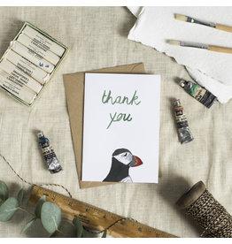 Dear Prudence Wenskaart - Puffin Thank You  - Dubbele kaart + Envelope - 10 x 15cm
