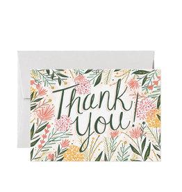 Card Nest Wenskaart - Bloemen thank you - Dubbele Kaart met envelop - blanco