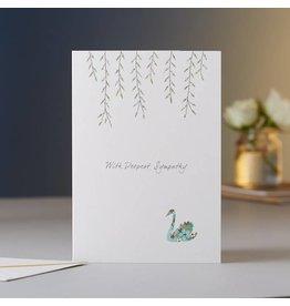 Eloise Hall Wenskaart - Swan with deepest sympathy  - Dubbele Kaart + Envelop - 11,5 x 16,5 - Blanco