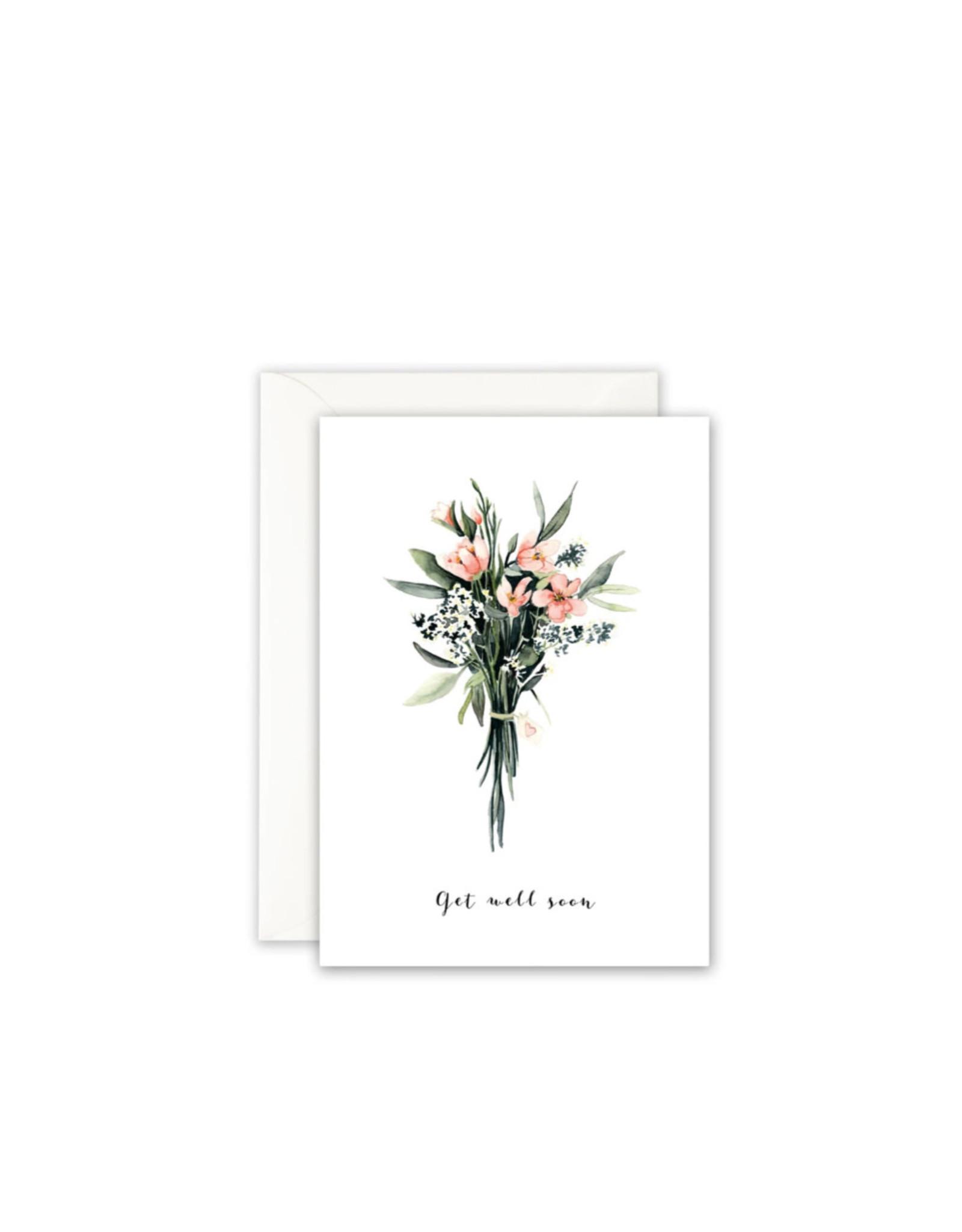 Leo La Douce Wenskaart - Boeketje Bloemen Get well soon - Postkaart + Envelope - 10 x 15cm