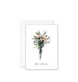 Leo La Douce Wenskaart - Boeketje Bloemen Get well soon - Postkaart + Envelop - 10 x 15cm