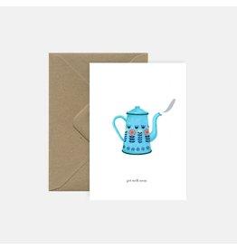 Pink Cloud Studio Wenskaart - Retro tea pot Get well soon - Dubbele Kaart met envelop - blanco