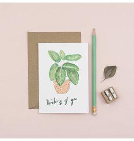 Plewsy Wenskaart -  Plant Thinking of you - Dubbele Kaart met envelop - blanco