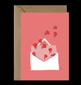 Ema Tudose Wenskaart - Flowery Love letter - Dubbele Kaart met envelop - blanco