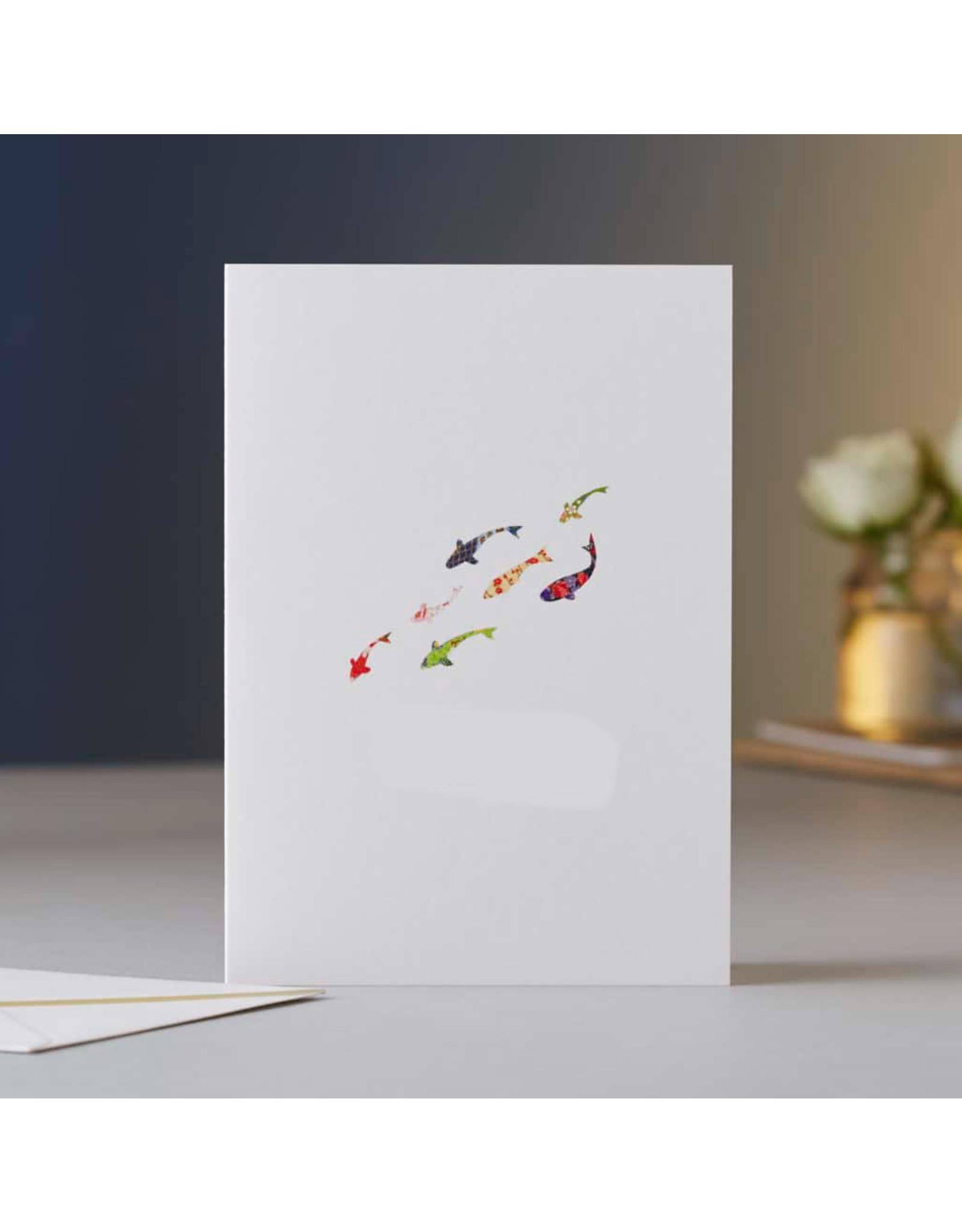 Eloise Halle Wenskaart - Koi carp drift - Dubbele Kaart + Envelop - 11,5 x 16,5 - Blanco