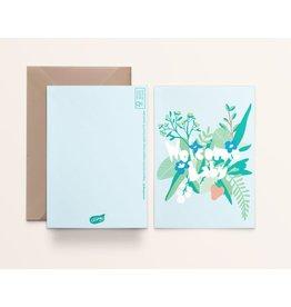 Kathings Wenskaart - Welcome Baby urban jungle - Dubbele kaart + Envelope  - Blanco