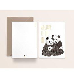 Kathings Wenskaart - Welcome Little one Panda - Dubbele kaart + Envelope  - Blanco
