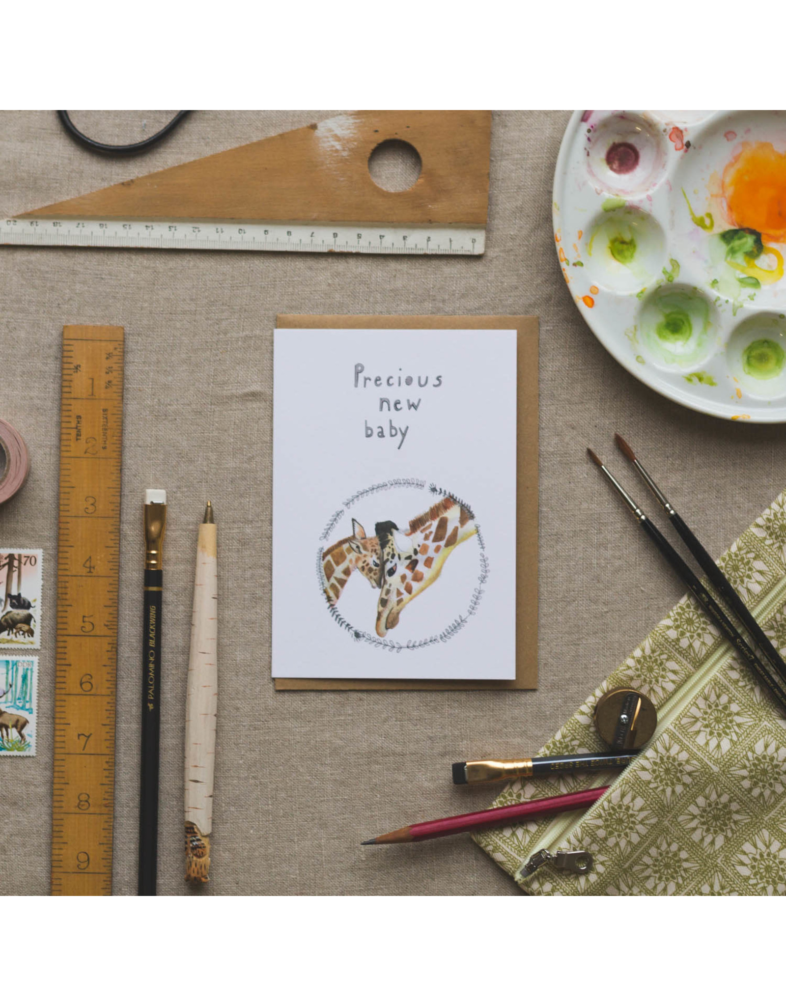 Dear Prudence Wenskaart - Precious new baby  - Dubbele kaart + Envelope - 10 x 15cm