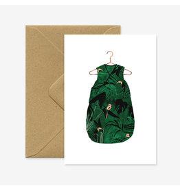 ATWS Wenskaart - Baby Jungle  - Dubbele kaart + Envelop - 11,5 x 16,5 - Blanco
