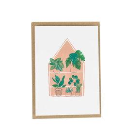 Plewsy Wenskaart -  Mini botanische huis - Dubbele Kaart met envelop - blanco