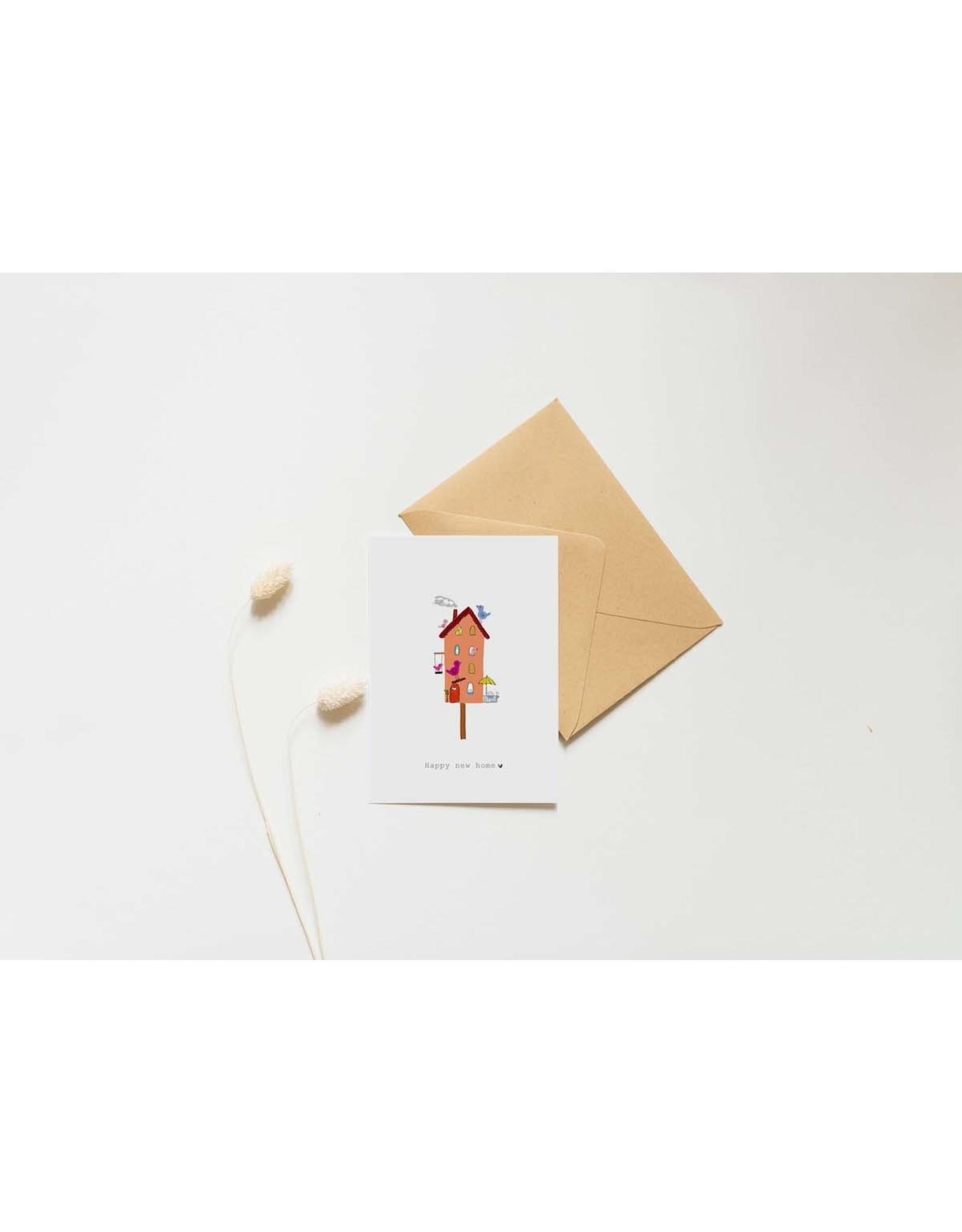 Nadine illustraties Wenskaart - Vogelhuisje Happy new house - Dubbele Kaart met envelop - blanco