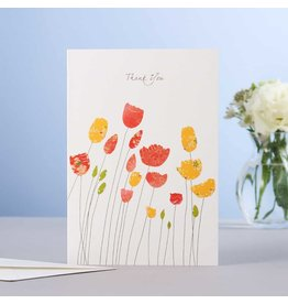 Eloise Hall Wenskaart - Tulips Thank You  - Dubbele Kaart + Envelop - 11,5 x 16,5 - Blanco