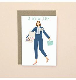 Amalia Flower Wenskaart - New job  - Dubbele Kaart met envelop - blanco