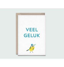 Kathings Wenskaart - Pimpelmees veel geluk - Dubbele kaart + Envelope  - Blanco