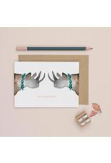 Plewsy Wenskaart -  Rhino Happy Anniversary - Dubbele Kaart met envelop - blanco