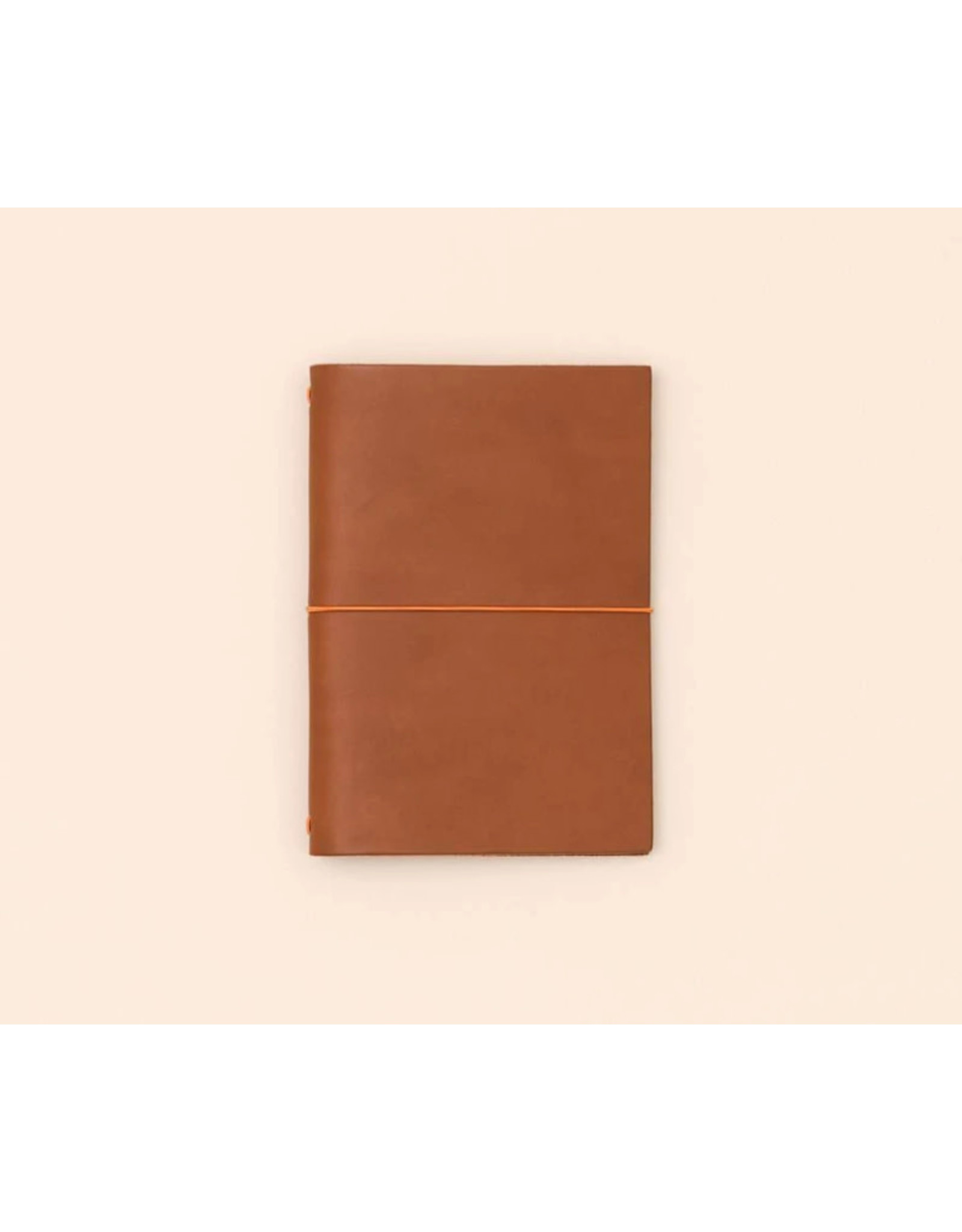 Paper republic Leather journal GSM  - Cognac -  8 x 15 -  with notebook 7  x 14 - Oranje rekker