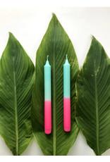 Studio-Sturmblau Kaars 1st. - Turquoise & Neon pink - 2,3 x 25 cm - Hand dipped - Brandtijd 7u