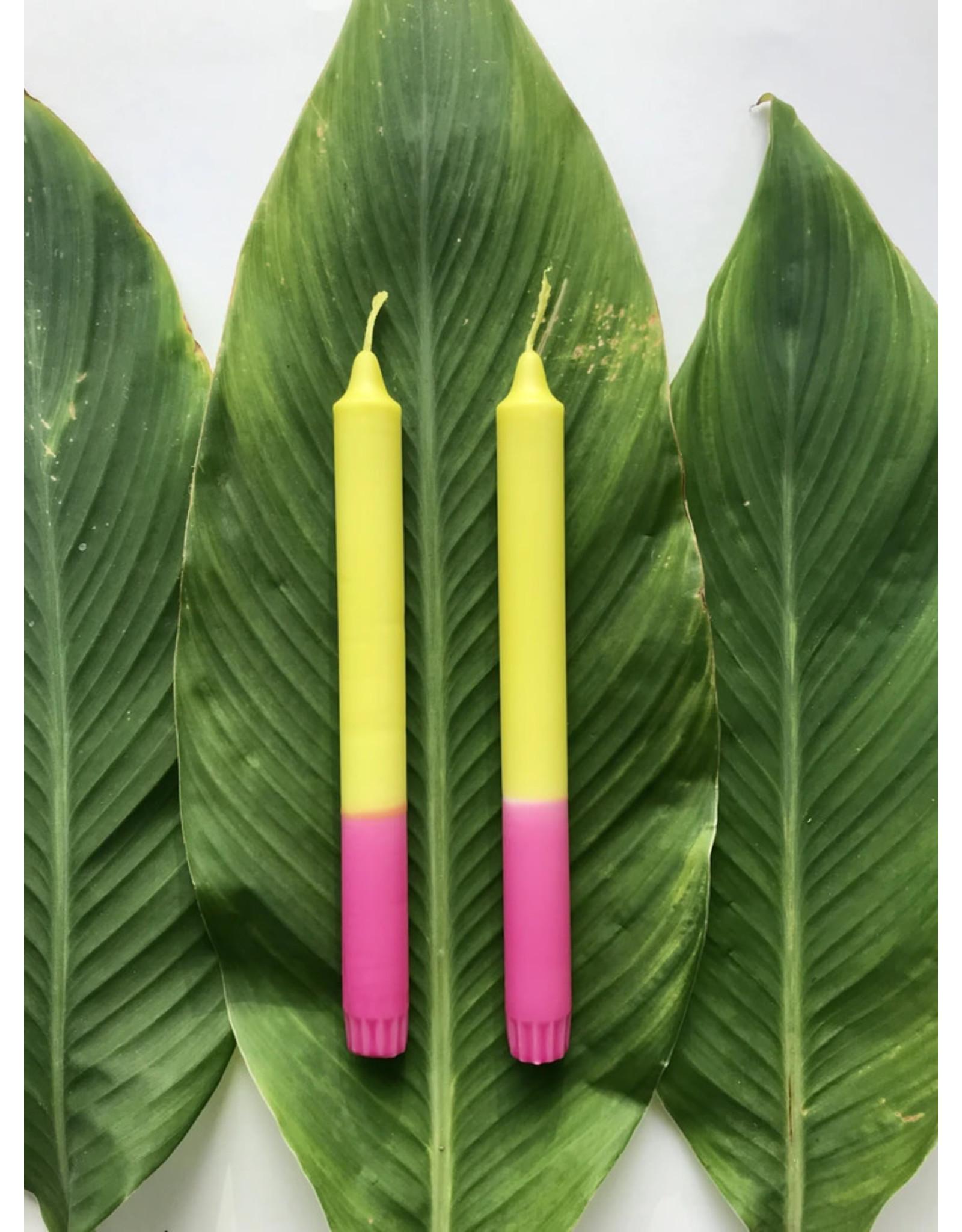 Studio-Sturmblau Kaars  1st.- Green & Pink - 2,3 x 25 cm - Hand dipped - Brandtijd 7u