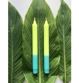 Studio-Sturmblau Kaars  1st. - Neon yellow & Turquoise - 2,3 x 25 cm - Hand dipped - Brandtijd 7u