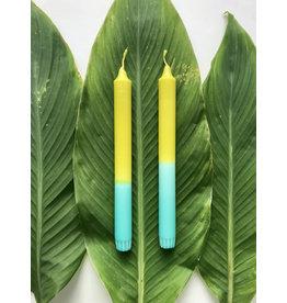 Studio-Sturmblau Kaars  1st. - Green & Turquoise - 2,3 x 25 cm - Hand dipped - Brandtijd 7u