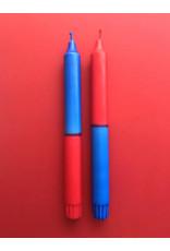 Studio-Sturmblau Kaars - 2st - Red & Blue - 2,3 x 25 cm - Hand dipped - Brandtijd 7u
